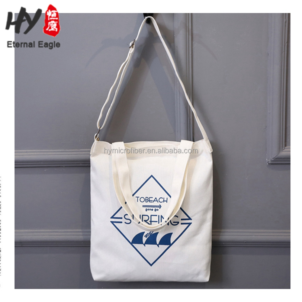 Handle length adjustable casual canvas tote bag