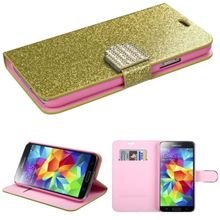 Gold Glittery Folio Pouch Credit Card Slot Cover Phone Case for Samung Galaxy S5 i9600
