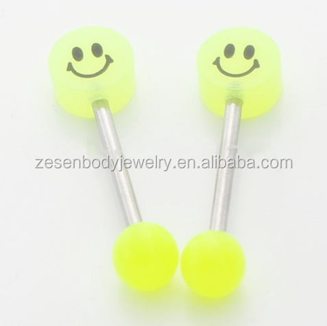 New Fashion Acrylic Yellow Smile Tongue Rings Body Piercing Jewelry