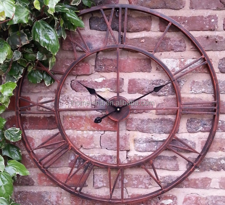 big size Roman numerals mental outdoor waterproof wall clock for home decor