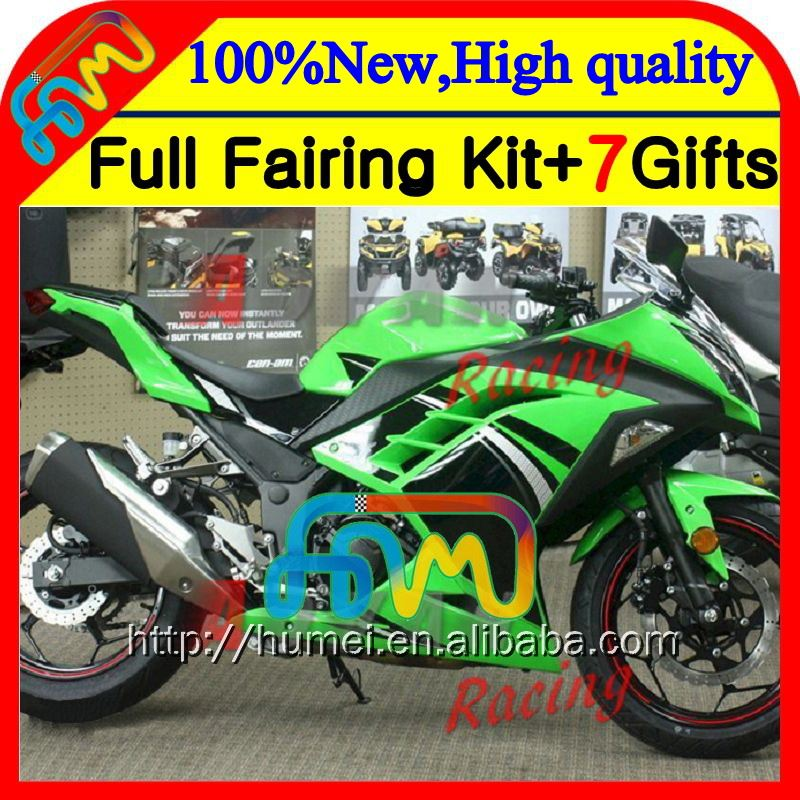Body+Injection Green black For KAWASAKI NINJA 300 ZX300R EX300 13 14 15 CL24 Factory green EX300R 300R 2013 2014 2015 Fairing