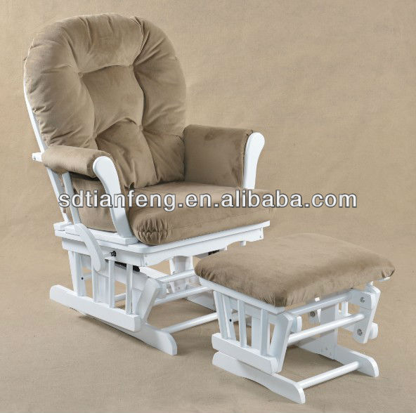 Rubber Wood Modern Glider Chair with Padded Cushions