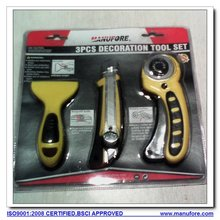 3pcs decoration hand tools set: safety cutters and scraper