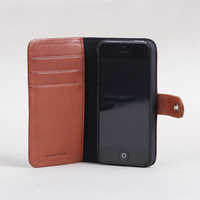 100% leather hot selling wallet case for iphone 5 4 4s designer OEM service Italian vegetable tanned leather