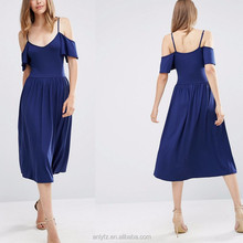 women royal blue dress spaghetti strap cold shoulder skater dress