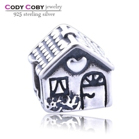 Family home genuine 925 sterling silver charm silver oxidized house charms bead for party gift DIY jewelry for snake bracelets