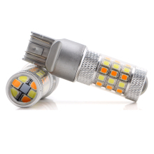 Guangzhou drl lights for car led bulb 2835 42SMD dual colors white amber led brake light T20 w21/5w 7443 led