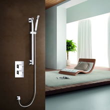 shower mixer with thermostatic dual concealed valve, slide rail
