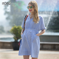 2017 summer casual short sleeve office maternity dress for pregnant woman