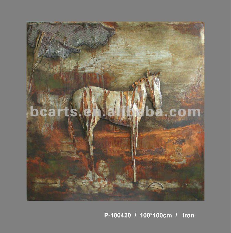 Contemporary Metal Horse Embossing painting