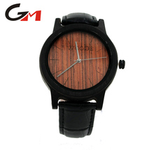Mens Black Wooden Wrist Watch with Genuine Crocodile Embossed Leather Strap