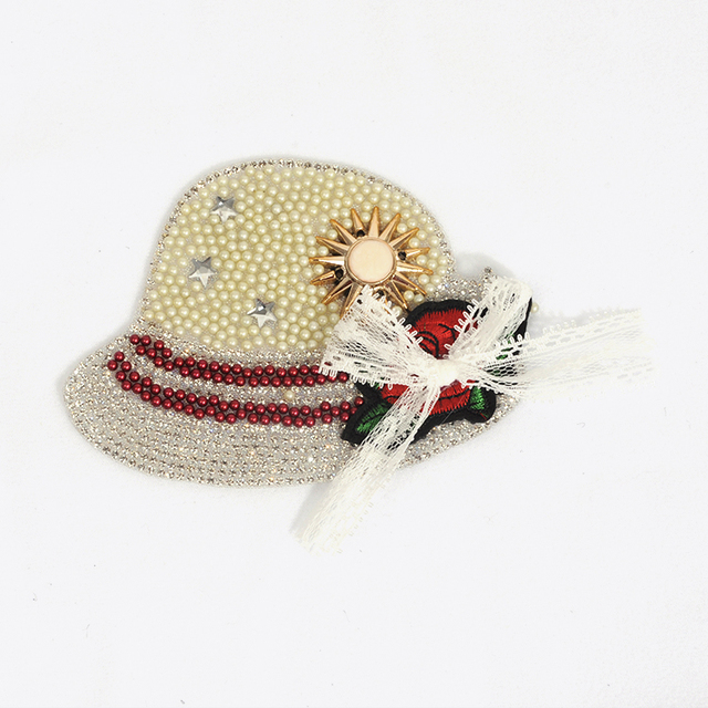hat shape pearl patch pearl beaded applique patch beaded embroidery patch