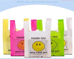 thank you plastic gift bags with handle smile supermarket plastic vest bag