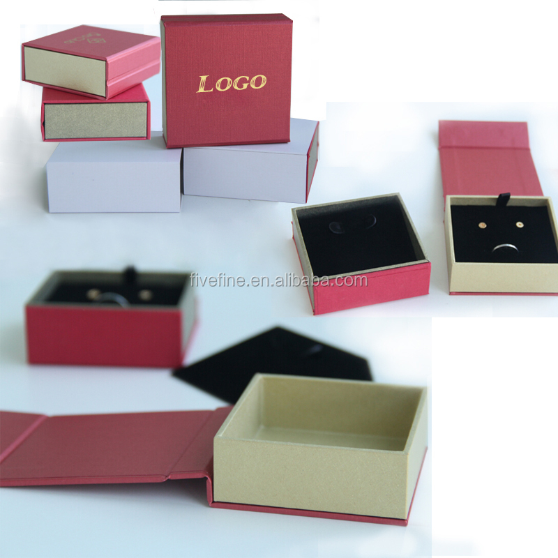 2016 Custom simple kraft paper jewelry box / kraft brown square cardboard jewellery boxes for jewellery hot sale