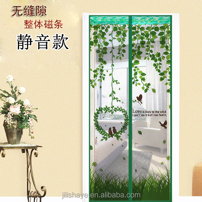Leaf print magnetic screen door with top lace
