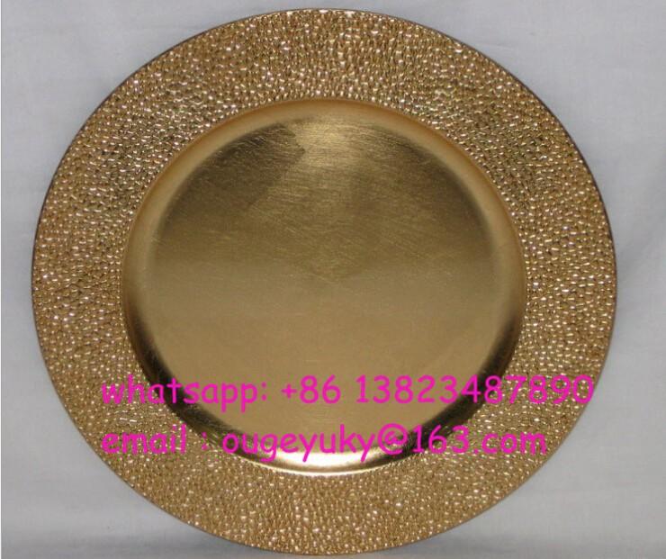String Pattern Plate Cheap 33cm Diameter Gold Plastic