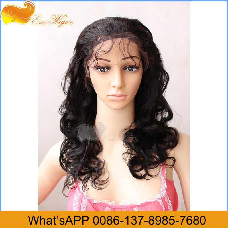Virgin Human Hair Lace Wigs Human Hair Lace Front Wig Or Full Lace Wig Body Wave 1B Color 120% Density