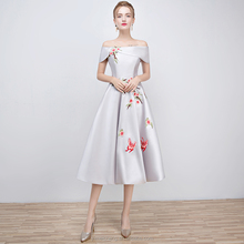 Formal simple printed tea length gorgerous party gown new model girl dress