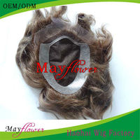 Virgin russian hair natural scalp for American African super thin skin mens toupee