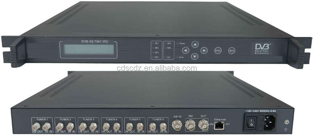 DVB-S dvb-s2 to ASI IRD with multiplexer (6 RF+ASI IN,ASI out)