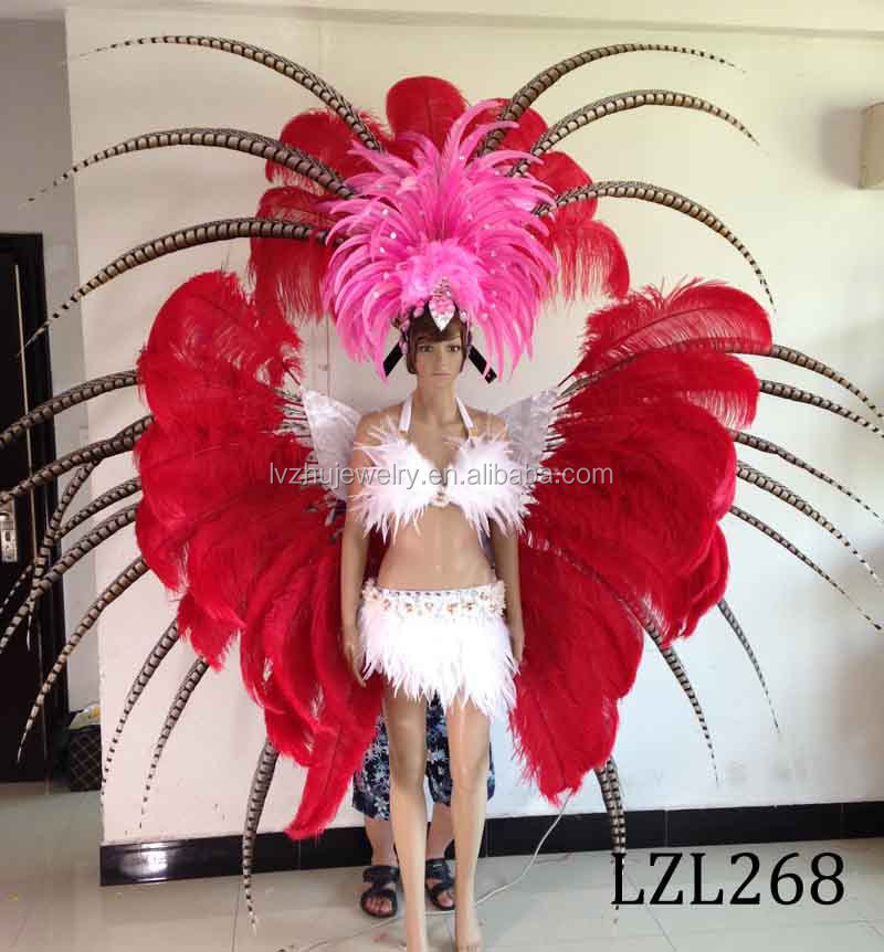 Showgirl/Dance Burlesque Feather samba costume LZL268