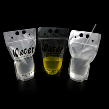 Customized clear stand up plastic juice beverage drink packaging storage bag