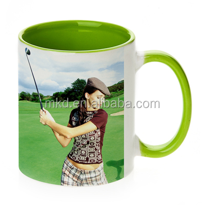 MEIKEDA 11oz White blank Sublimation coated Photo Mug With Green color Inside&Handle
