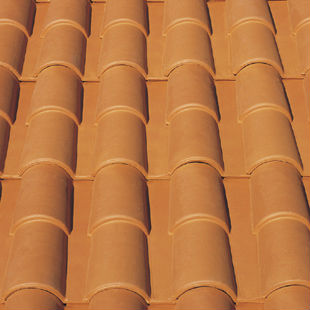 "Spanish ""Red"", ""Occitan"", double roman ceramic roof tile, made of clay"