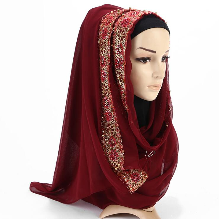 High quality muslim head scarves wholesale gold stamping chiffon women glitter hijab scarf