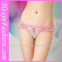 Wholesale Hot Girl Pink Lace Transparent Sexy Panties