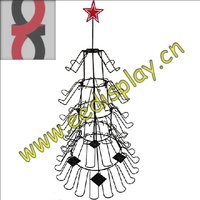 Christmas tree promotion gift display rack/OEM supermarket metal hanging display stand for toys and dolls/steel wire craft