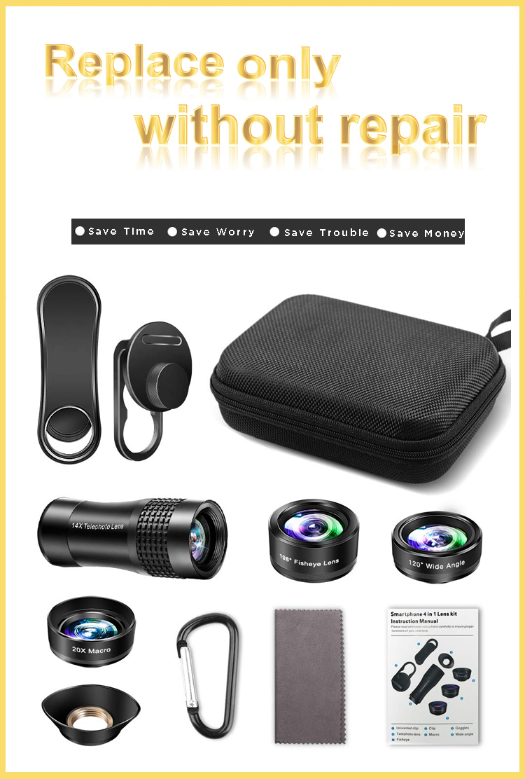 Amazon new product 4 in 1 mobile phone telephoto lens for mobile camera lens