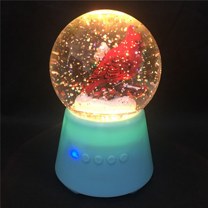 2018 New Design Novelty Color Changing Led Light Holiday Glitter Water Globe Bluetooth Speaker with Cardinal Scene