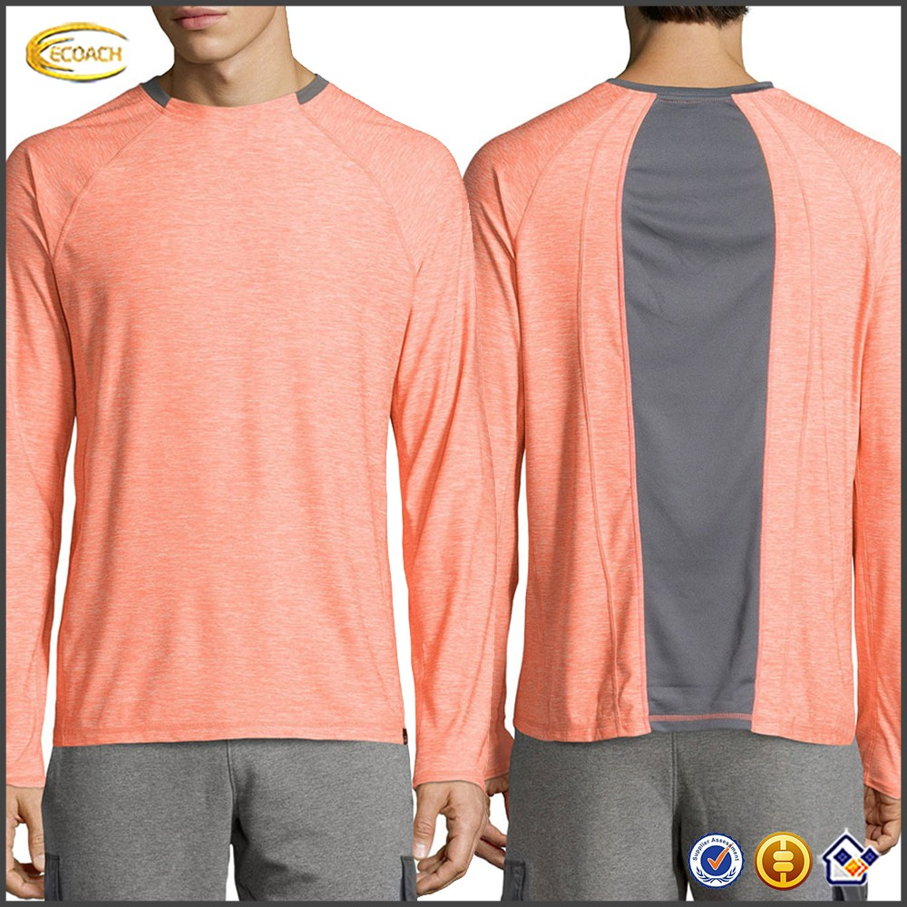 Ecoach Wholesale OEM Men Custom Crew Neckline Fitted Silhouette Shirt Kinetic Mesh Panel Long Raglan Sleeve Tee Shirts