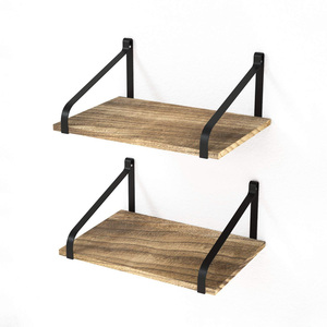 OEM Factory Rustic Wood Wall Floating Shelves with Metal Frame