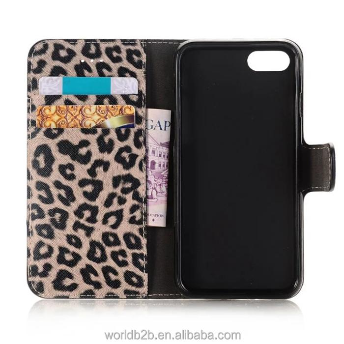 Leopard Pattern PU Leather Card Slot Wallet Case for iPhone 7