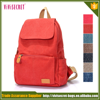 Ladies canvas backpack vintage 2016 red women's school shoulder back canvas bag