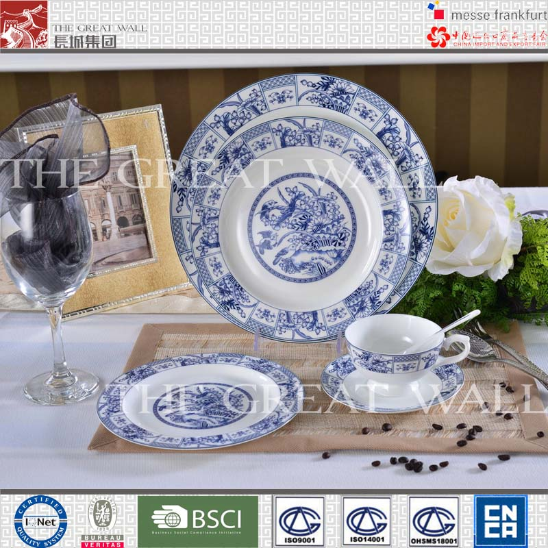 30pcs fine bone china blue and white dinner set