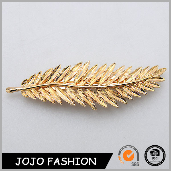 Vintage style gold feather shape bohemian remy in human extension crocodile hair clip accessories