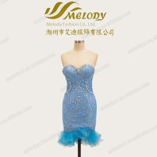 Light blue lace long zipper show fit picture sexy girls short backless dress with diamond