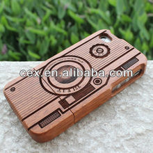Classic Camera Wood Wooden Hard Cover Case for Iphone 4 4S