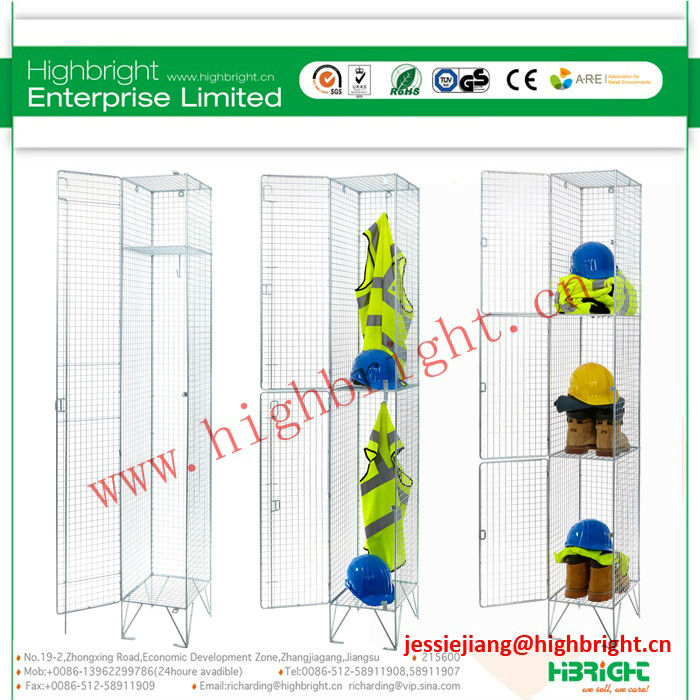 3 tiers wire mesh locker