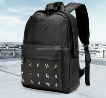 waterproof PU leather laptop backpack bag with rivets
