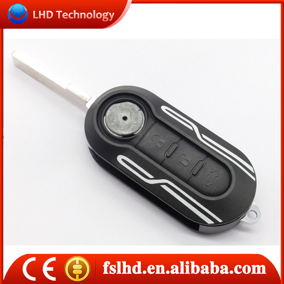 Factory price keyless for Fiat 500 key cover 3 button flip remote replacement key shell