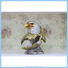 Resin European Eagle Head Decoration Statues, Resin Imitation Metal Eagle Fly Home Decorations