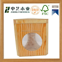 Handmade cutout circle unfinished solid pine triangle shaped wooden box with clear window