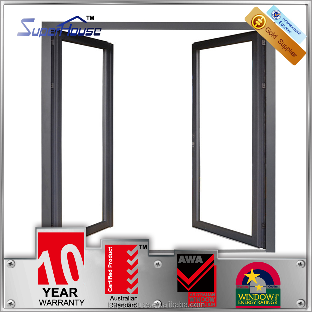 double tempered glazed aluminum frame glass double swing casement doors