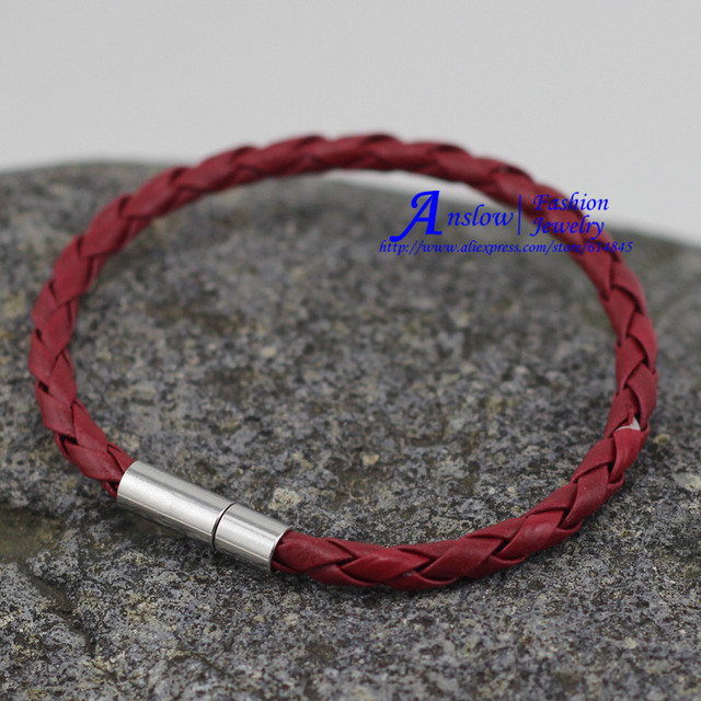 LOW0004LB 2PCS/LOT Fashion Jewelry Wholesale Vintage 4mm Leather Bracelet For Women And Men Christmas Gift