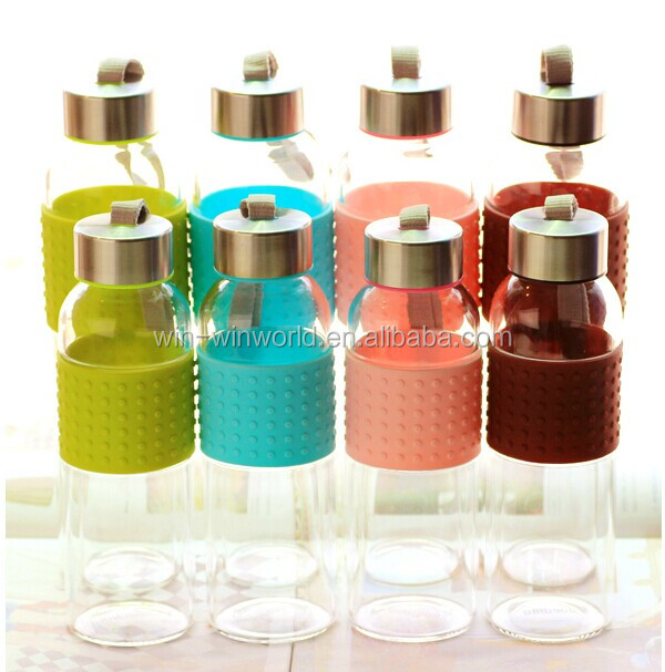 Promotional Sealed Clear BPA Free Glass Water Bottle With Silicone Sleeve