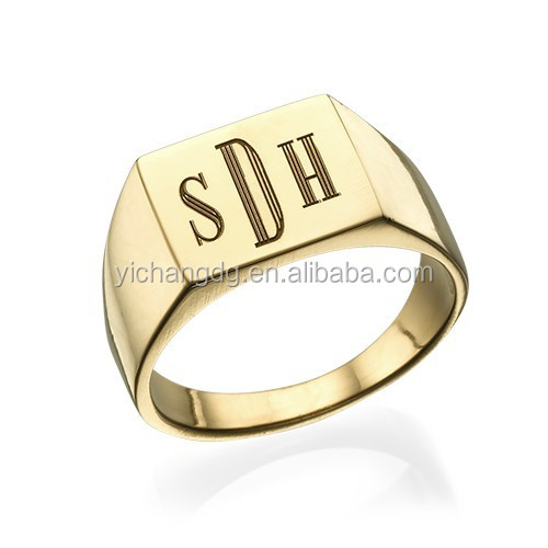 18k Gold Plated Monogrammed Signet Ring mens cool promise ring